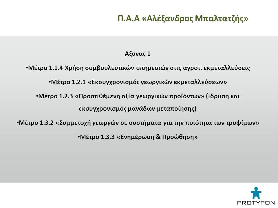 Αξονας 2 • Μέτρο 2.1.4 Γεωργοπεριβαλλοντικές ενισχύσεις – Δράση 1.1 Βιολογική Γεωργία Αξονας 4 • Τοπικά Προγράμματα LEADER -ίδρυση, εκσυγχρονισμός παραγωγικών μονάδων και -διαφοροποίηση στις αγροτικές δραστηριότητες -τουριστικά καταλύματα Π.Α.Α «Αλέξανδρος Μπαλτατζής»