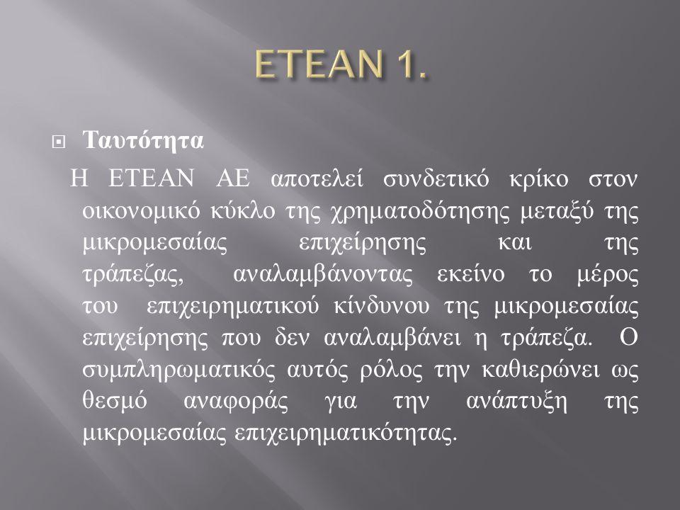  Η ίδρυση της ΕΤΕΑΝ ΑΕ ανατρέχει στο 2003, όταν ιδρύθηκε το Ταμείο Εγγυοδοσίας Μικρών και Πολύ Μικρών Επιχειρήσεων, ( ΤΕΜΠΜΕ Α.