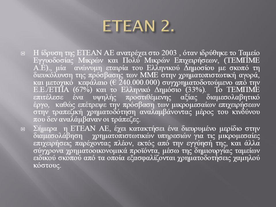  Η ίδρυση της ΕΤΕΑΝ ΑΕ ανατρέχει στο 2003, όταν ιδρύθηκε το Ταμείο Εγγυοδοσίας Μικρών και Πολύ Μικρών Επιχειρήσεων, ( ΤΕΜΠΜΕ Α. Ε )., μία ανώνυμη ετα