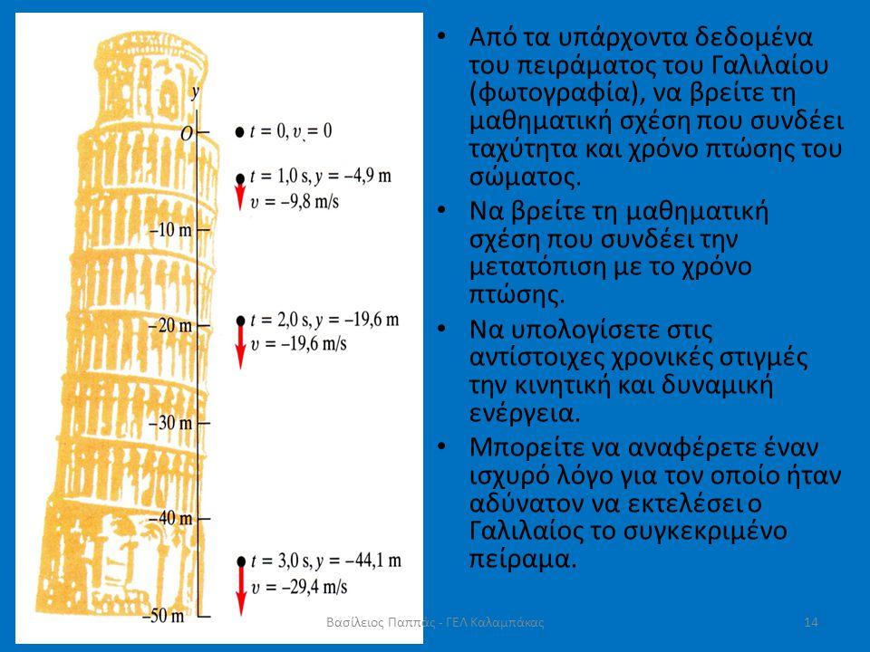 • Από τα υπάρχοντα δεδομένα του πειράματος του Γαλιλαίου (φωτογραφία), να βρείτε τη μαθηματική σχέση που συνδέει ταχύτητα και χρόνο πτώσης του σώματος