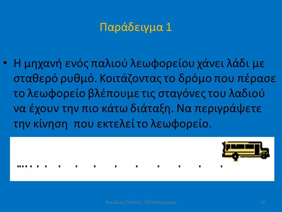 Παράδειγμα 1 • Η μηχανή ενός παλιού λεωφορείου χάνει λάδι με σταθερό ρυθμό. Κοιτάζοντας το δρόμο που πέρασε το λεωφορείο βλέπουμε τις σταγόνες του λαδ