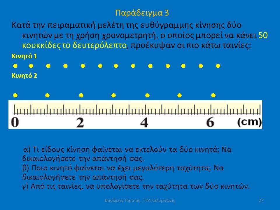 Παράδειγμα 3 Κατά την πειραματική μελέτη της ευθύγραμμης κίνησης δύο κινητών με τη χρήση χρονομετρητή, ο οποίος μπορεί να κάνει 50 κουκκίδες το δευτερ
