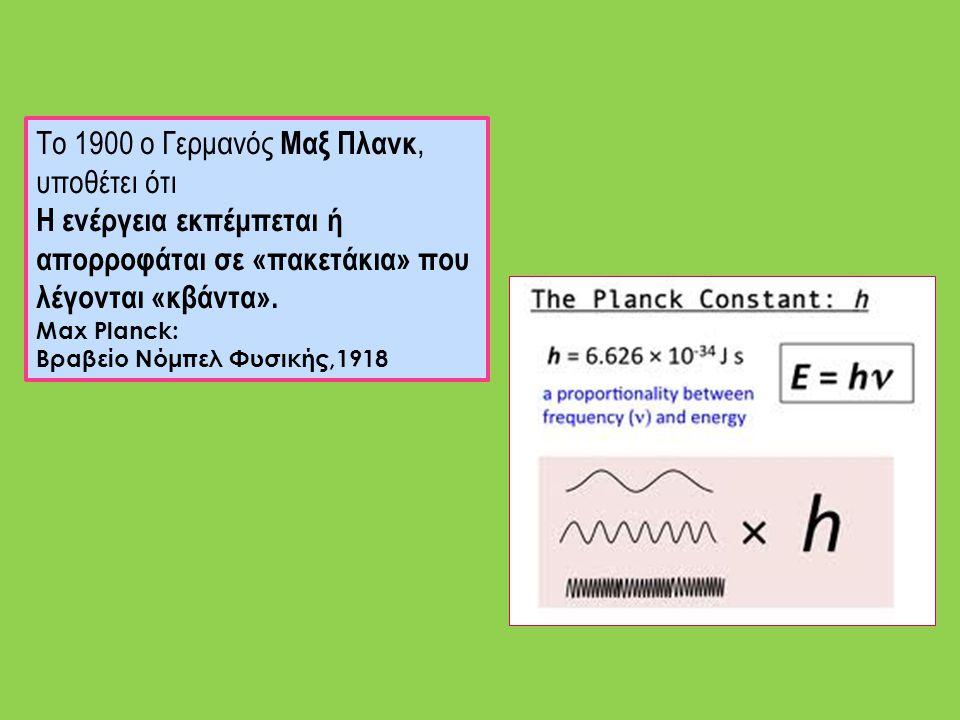 Το 1900 ο Γερμανός Μαξ Πλανκ, υποθέτει ότι Η ενέργεια εκπέμπεται ή απορροφάται σε «πακετάκια» που λέγονται «κβάντα». Max Planck: Βραβείο Νόμπελ Φυσική