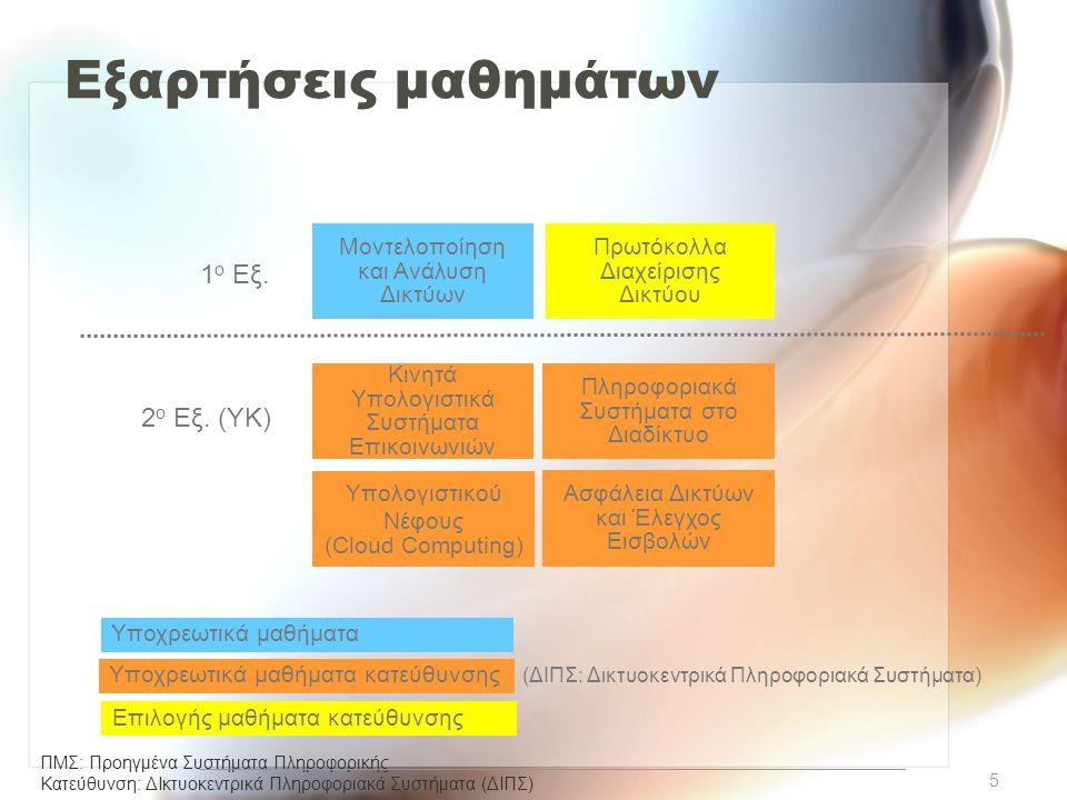 ΠΜΣ: Προηγμένα Συστήματα Πληροφορικής Κατεύθυνση: ΔΙκτυοκεντρικά Πληροφοριακά Συστήµατα (ΔΙΠΣ) Εξαρτήσεις μαθημάτων Μοντελοποίηση και Ανάλυση Δικτύων 1 ο Εξ.