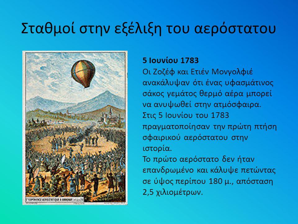 Σταθμοί στην εξέλιξη του αερόστατου 5 Ιουνίου 1783 Οι Ζοζέφ και Ετιέν Μονγολφιέ ανακάλυψαν ότι ένας υφασμάτινος σάκος γεμάτος θερμό αέρα μπορεί να ανυ