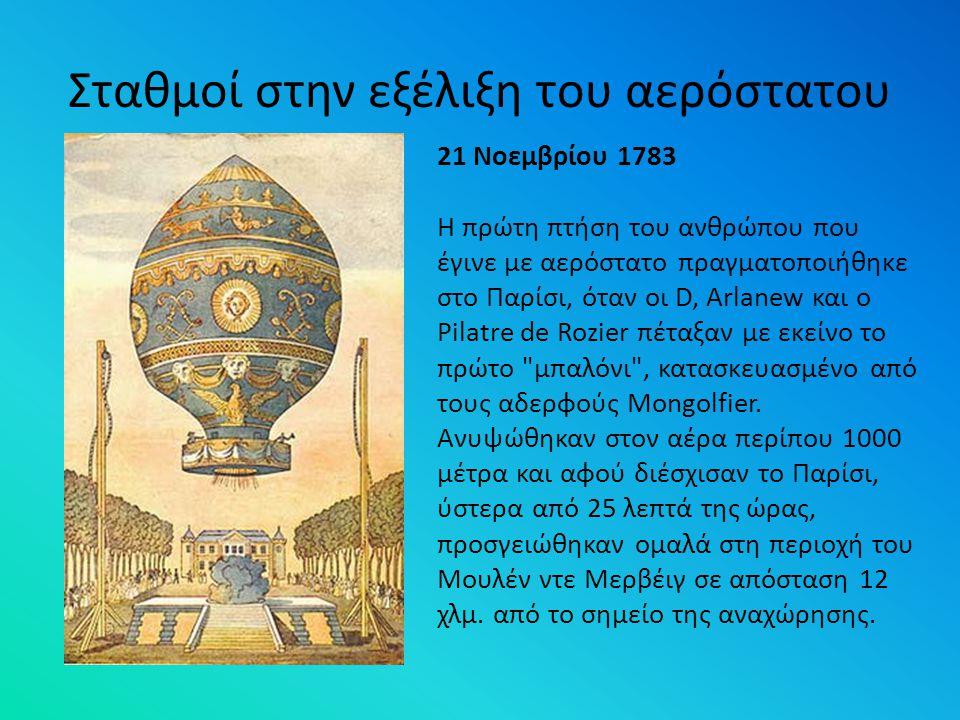 Σταθμοί στην εξέλιξη του αερόστατου 21 Νοεμβρίου 1783 Η πρώτη πτήση του ανθρώπου που έγινε με αερόστατο πραγματοποιήθηκε στο Παρίσι, όταν οι D, Arlane