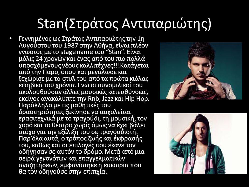 Stan(Στράτος Αντιπαριώτης) • Γεννημένος ως Στράτος Αντιπαριώτης την 1η Αυγούστου του 1987 στην Αθήνα, είναι πλέον γνωστός με το stage name του Stan .