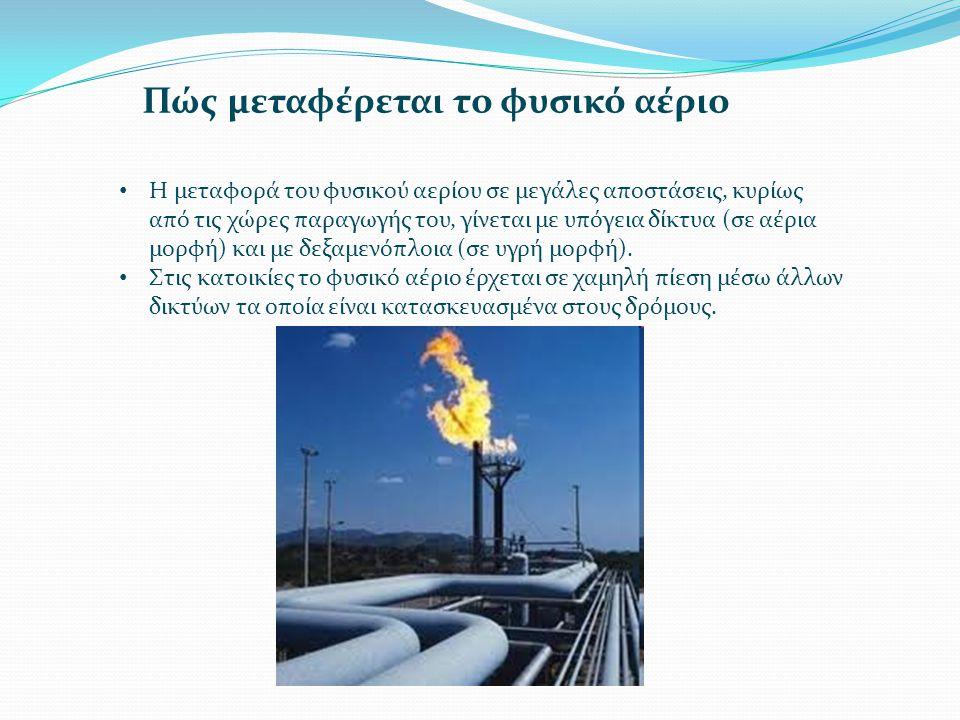 Πώς μεταφέρεται το φυσικό αέριο • Η μεταφορά του φυσικού αερίου σε μεγάλες αποστάσεις, κυρίως από τις χώρες παραγωγής του, γίνεται με υπόγεια δίκτυα (