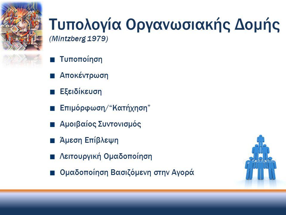 """Τυπολογία Οργανωσιακής Δομής (Mintzberg 1979) Τυποποίηση Αποκέντρωση Εξειδίκευση Επιμόρφωση/""""Κατήχηση"""" Αμοιβαίος Συντονισμός Άμεση Επίβλεψη Λειτουργικ"""