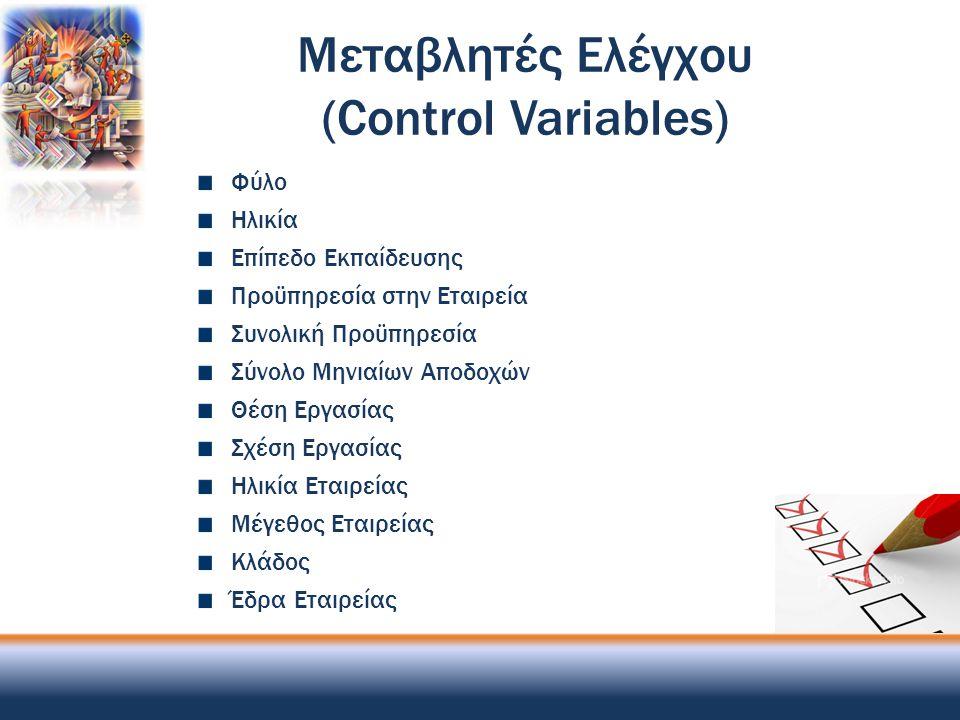 Μεταβλητές Ελέγχου (Control Variables) Φύλο Ηλικία Επίπεδο Εκπαίδευσης Προϋπηρεσία στην Εταιρεία Συνολική Προϋπηρεσία Σύνολο Μηνιαίων Αποδοχών Θέση Ερ