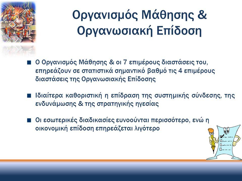 Οργανισμός Μάθησης & Οργανωσιακή Επίδοση Ο Οργανισμός Μάθησης & οι 7 επιμέρους διαστάσεις του, επηρεάζουν σε στατιστικά σημαντικό βαθμό τις 4 επιμέρου