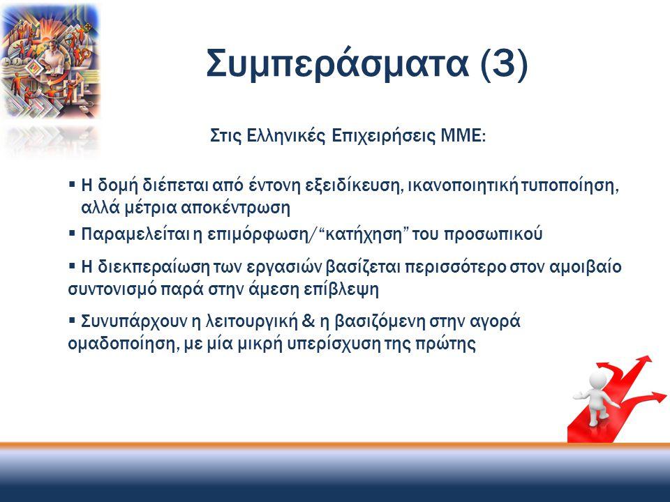 Συμπεράσματα (3) Στις Ελληνικές Επιχειρήσεις ΜΜΕ:  Η δομή διέπεται από έντονη εξειδίκευση, ικανοποιητική τυποποίηση, αλλά μέτρια αποκέντρωση  Παραμε