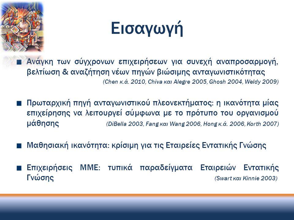 Εισαγωγή (2) Η κερδοφορία των ελληνικών επιχειρήσεων ΜΜΕ & διαφήμισης σε ανεξέλεγκτη πτώση (Γαλάνης 2011, Πολυμερίδου 2010) Ενίσχυση της οργανωσιακής επίδοσης μέσω της συστηματικής γνωστικής εξέλιξης του ανθρώπινου δυναμικού (Chang και Lee 2007, Davis και Daley 2008, Ellinger κ.ά.