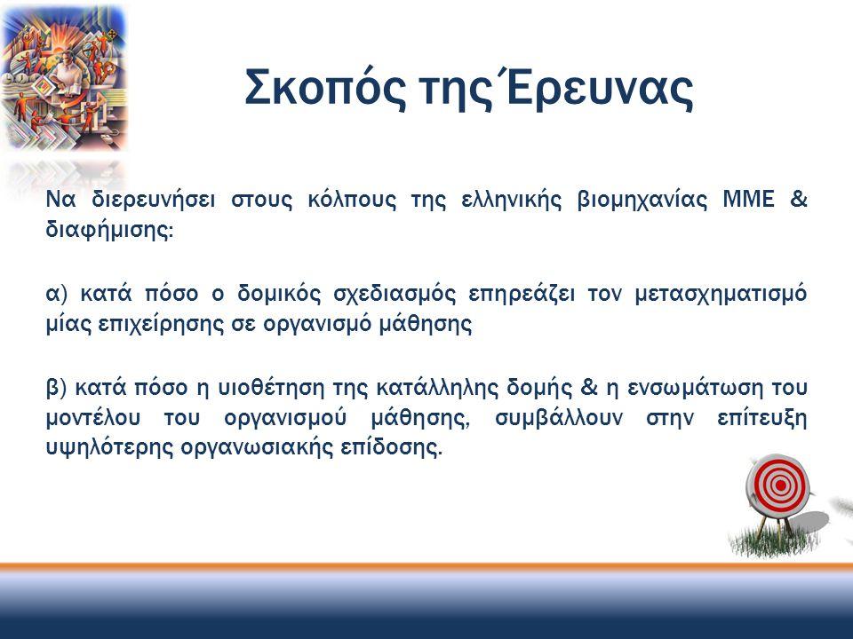 Συμπεράσματα (3) Στις Ελληνικές Επιχειρήσεις ΜΜΕ:  Η δομή διέπεται από έντονη εξειδίκευση, ικανοποιητική τυποποίηση, αλλά μέτρια αποκέντρωση  Παραμελείται η επιμόρφωση/ κατήχηση του προσωπικού  Η διεκπεραίωση των εργασιών βασίζεται περισσότερο στον αμοιβαίο συντονισμό παρά στην άμεση επίβλεψη  Συνυπάρχουν η λειτουργική & η βασιζόμενη στην αγορά ομαδοποίηση, με μία μικρή υπερίσχυση της πρώτης