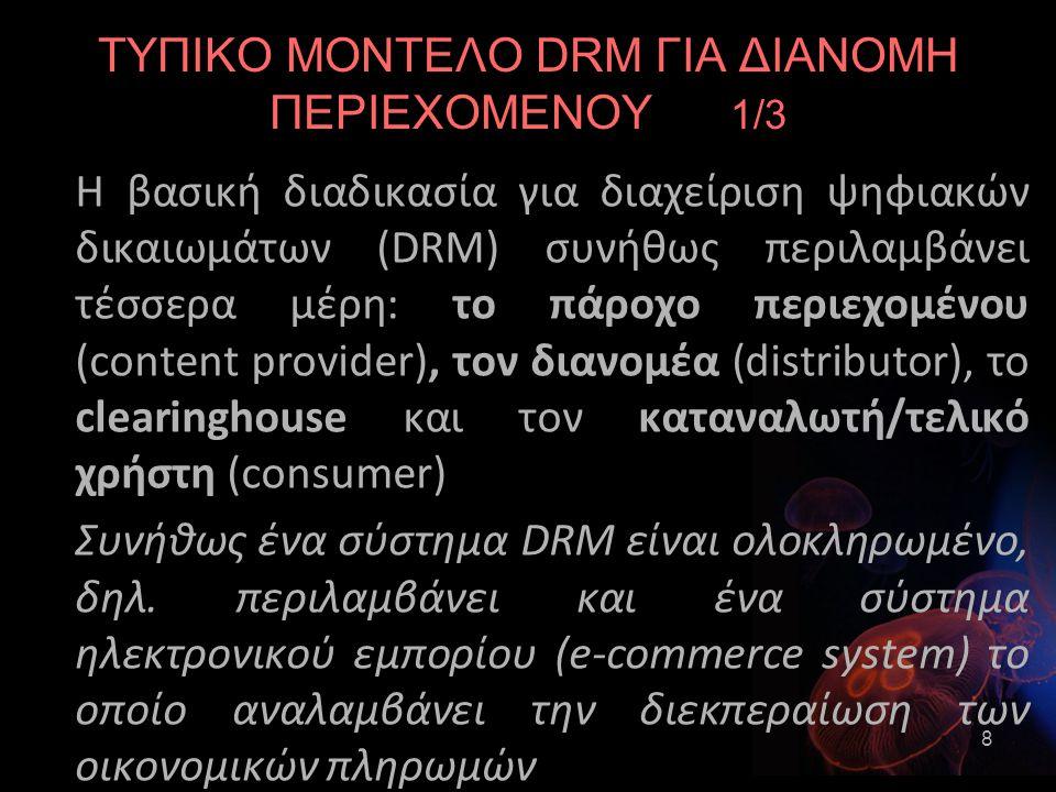 ΤΥΠΙΚΟ ΜΟΝΤΕΛΟ DRM ΓΙΑ ΔΙΑΝΟΜΗ ΠΕΡΙΕΧΟΜΕΝΟΥ 1/3 Η βασική διαδικασία για διαχείριση ψηφιακών δικαιωμάτων (DRM) συνήθως περιλαμβάνει τέσσερα μέρη: το πάροχο περιεχομένου (content provider), τον διανομέα (distributor), το clearinghouse και τον καταναλωτή/τελικό χρήστη (consumer) Συνήθως ένα σύστημα DRM είναι ολοκληρωμένο, δηλ.