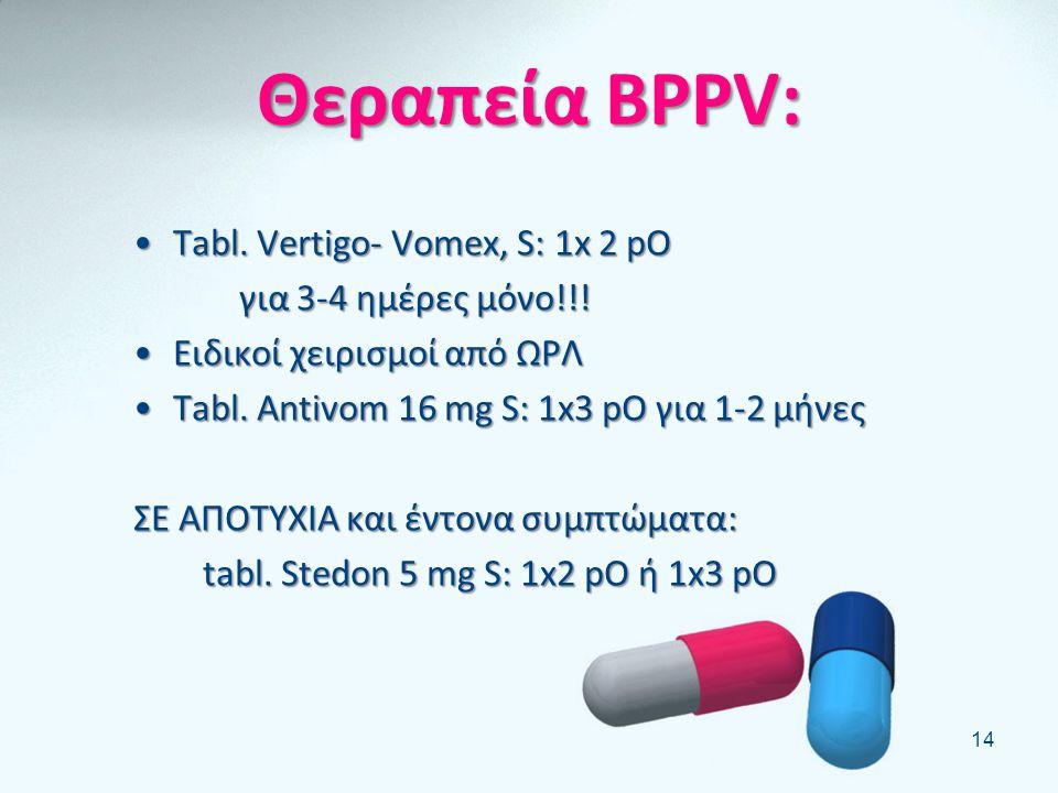 BPPV: •Ο πιο συχνός, 90% ιδιοπαθής •Στις μεγάλες ηλικίες (1/3 των 70χρονων έχει κάνει ίλιγγο) •Επεισόδια περιστροφικής ζάλης διάρκειας λίγων δευτερολέ
