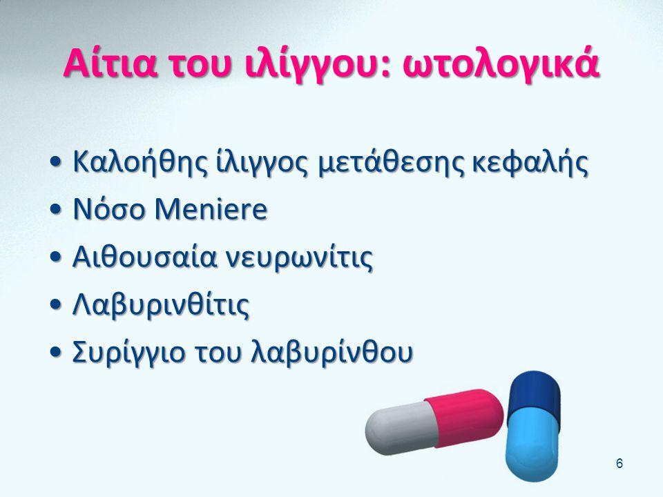 Συνοδά συμπτώματα του ιλίγγου: •Ναυτία- εμετός •Κεφαλαλγία •Ωχρότητα •Εφίδρωση •Δυσχέρεια βάδισης - πτώσεις •Βαρηκοία – εμβοές 5