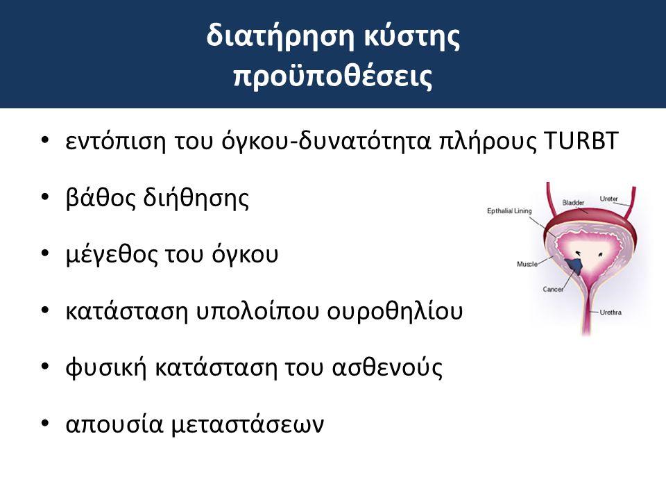 • εντόπιση του όγκου-δυνατότητα πλήρους TURΒΤ • βάθος διήθησης • μέγεθος του όγκου • κατάσταση υπολοίπου ουροθηλίου • φυσική κατάσταση του ασθενούς •