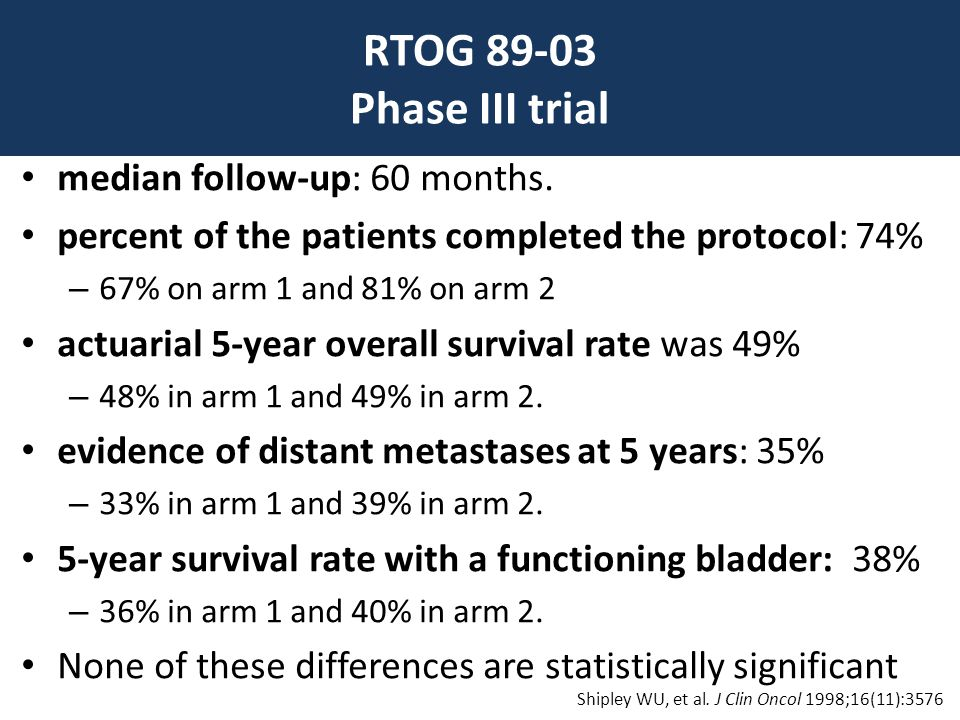RTOG 89-03 Phase III trial • median follow-up: 60 months. • percent of the patients completed the protocol: 74% – 67% on arm 1 and 81% on arm 2 • actu