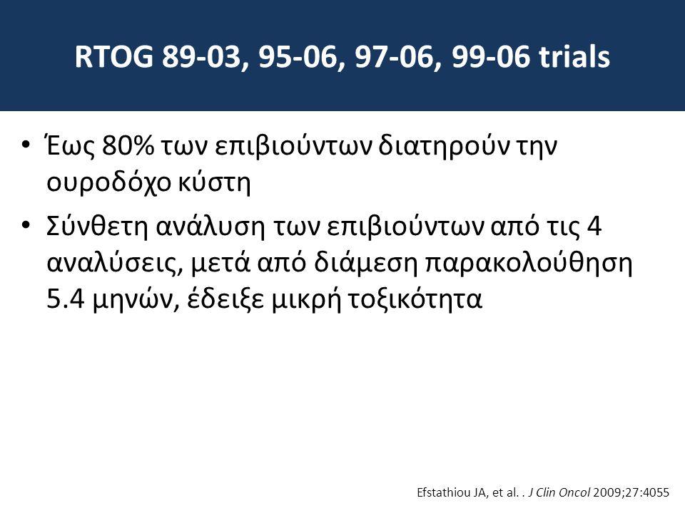 RTOG 89-03, 95-06, 97-06, 99-06 trials • Έως 80% των επιβιούντων διατηρούν την ουροδόχο κύστη • Σύνθετη ανάλυση των επιβιούντων από τις 4 αναλύσεις, μ
