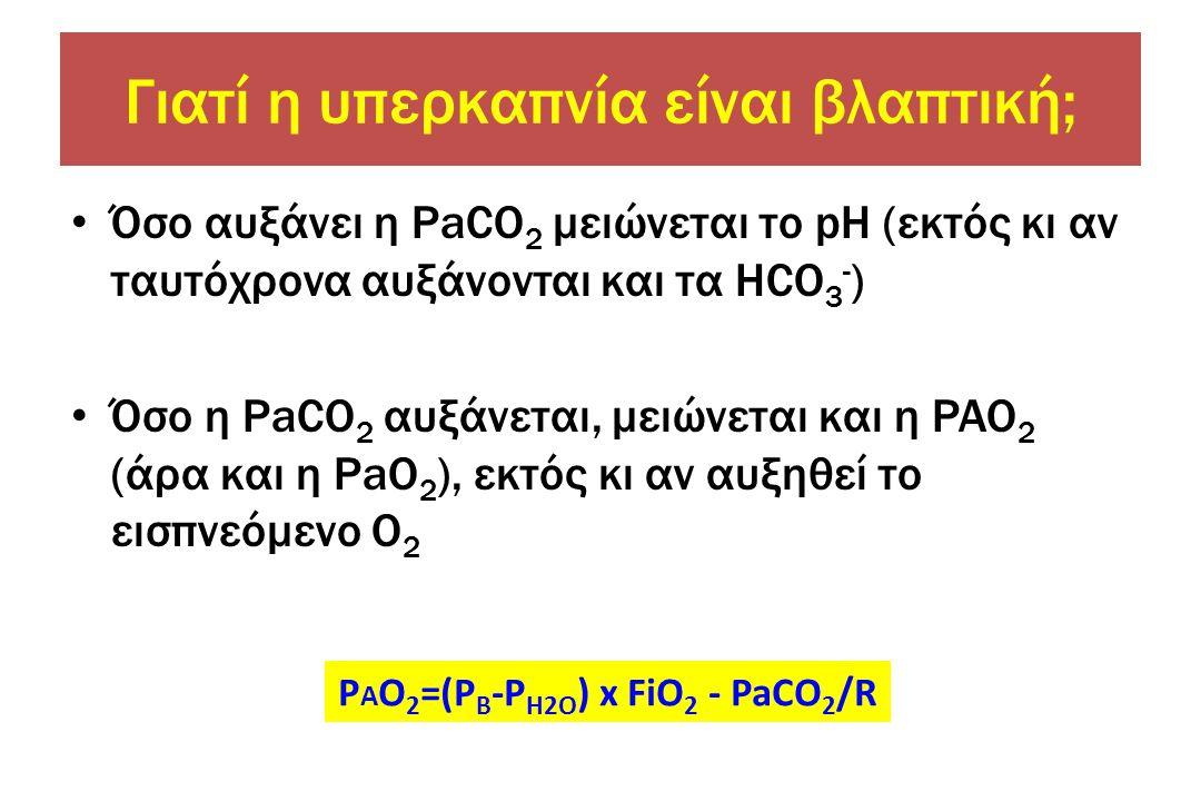 • Όσο αυξάνει η PaCO 2 μειώνεται το pH (εκτός κι αν ταυτόχρονα αυξάνονται και τα HCO 3 - ) • Όσο η PaCO 2 αυξάνεται, μειώνεται και η PAO 2 (άρα και η PaΟ 2 ), εκτός κι αν αυξηθεί το εισπνεόμενο Ο 2 P A O 2 =(P Β -P Η2Ο ) x FiΟ 2 - PaCO 2 /R Γιατί η υπερκαπνία είναι βλαπτική;