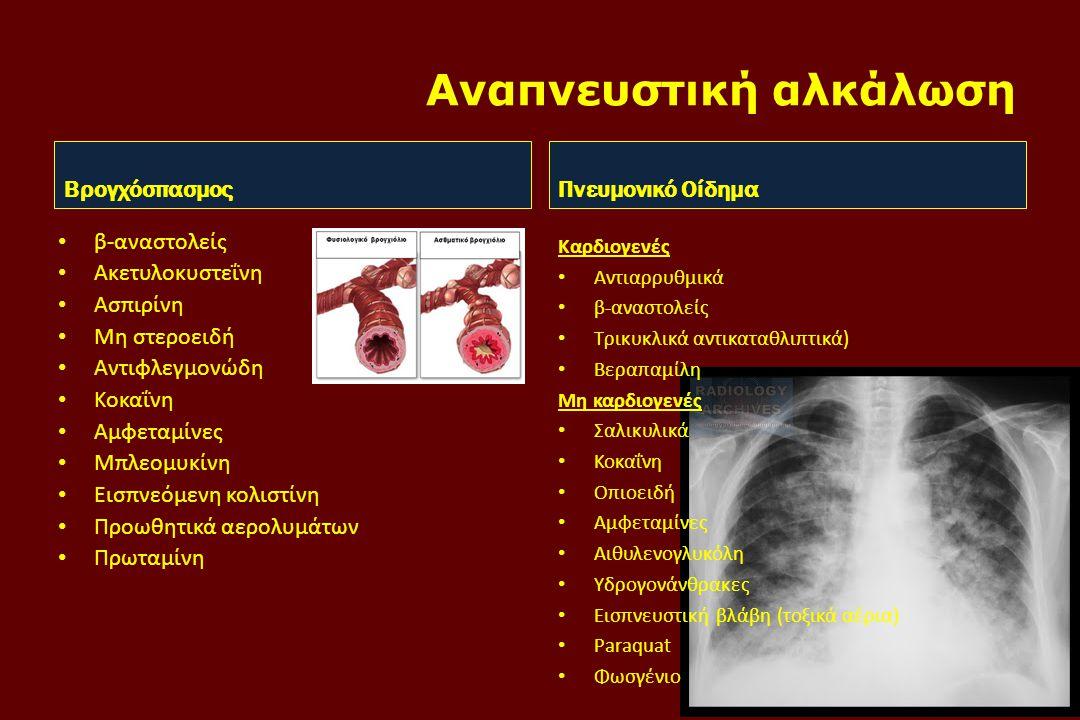 Αναπνευστική αλκάλωση Βρογχόσπασμος • β-αναστολείς • Ακετυλοκυστεΐνη • Ασπιρίνη • Μη στεροειδή • Αντιφλεγμονώδη • Κοκαΐνη • Αμφεταμίνες • Μπλεομυκίνη