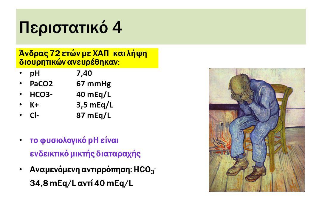 Περιστατικό 4 Άνδρας 72 ετών με ΧΑΠ και λήψη διουρητικών ανευρέθηκαν: • pH7,40 • PaCO267 mmHg • HCO3-40 mEq/L • K+3,5 mEq/L • Cl-87 mEq/L • το φυσιολογικό pH είναι ενδεικτικό μικτής διαταραχής • Αναμενόμενη αντιρρόπηση: HCO 3 - 34,8 mEq/L αντί 40 mEq/L