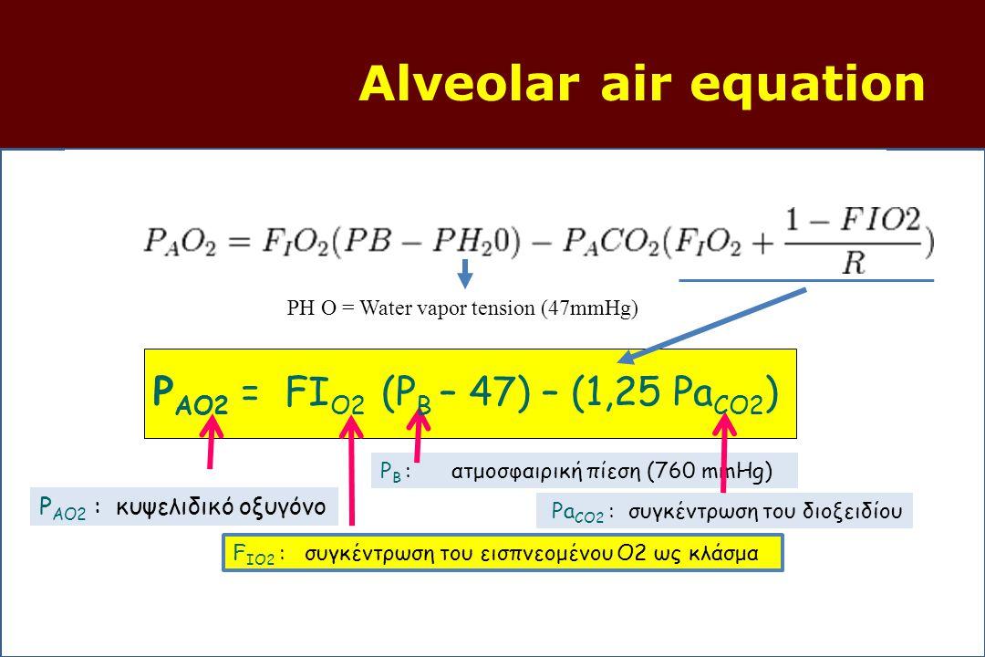 Alveolar air equation P AO2 : κυψελιδικό οξυγόνο F IO2 : συγκέντρωση του εισπνεομένου O2 ως κλάσμα P B : ατμοσφαιρική πίεση (760 mmHg) Pa CO2 : συγκέντρωση του διοξειδίου P AO2 = FΙ O2 (P B – 47) – (1,25 Pa CO2 ) PH O = Water vapor tension (47mmHg)
