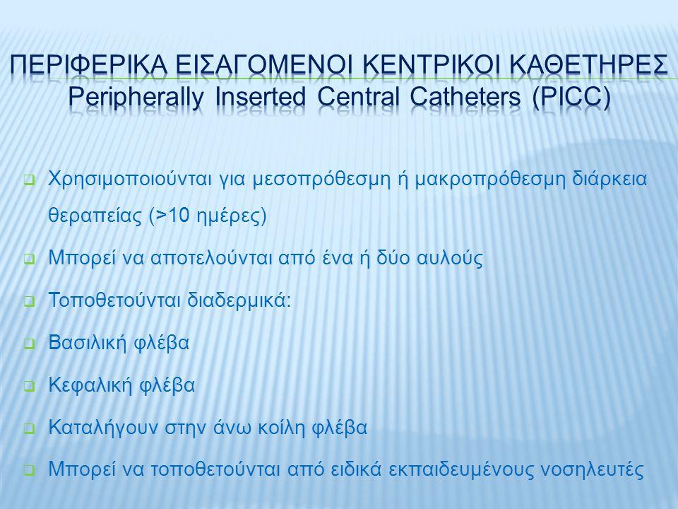 Υποκλείδιος φλέβαΜηριαία φλέβαΈσω σφαγίτιδα φλέβα Επιτυχία90-95% 90-99% Παρακέντηση αρτηρίας 0.5-1%5-10%10% Πνευμοθώρακ ας 1-5%00-0.2% Λοίμωξη - επίπτωση ΕλάχιστηΥψηλήΜέση Επιτυχία σε ΚΑΡΠΑ 2η2η 1η1η 3η3η Επιλογής θέσης Δ.καμίααποφυγή θωρακικού πόρου Διαταραχή πήξης 3η3η1η1η 2η2η Υπογκαιμία1 η : βατή φλέβα2η2η 3 η: σύμπτωση φλέβας Βηματοδότης2η2η 3η3η 1η1η Irwin & Rippe's intensive care medicine 6 th edition