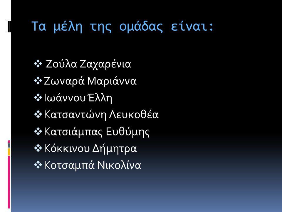 Τα μέλη της ομάδας είναι:  Ζούλα Ζαχαρένια  Ζωναρά Μαριάννα  Ιωάννου Έλλη  Κατσαντώνη Λευκοθέα  Κατσιάμπας Ευθύμης  Κόκκινου Δήμητρα  Κοτσαμπά