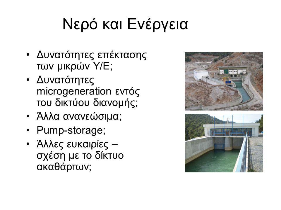 Νερό και Ενέργεια •Δυνατότητες επέκτασης των μικρών Υ/Ε; •Δυνατότητες microgeneration εντός του δικτύου διανομής; •Άλλα ανανεώσιμα; •Pump-storage; •Άλ