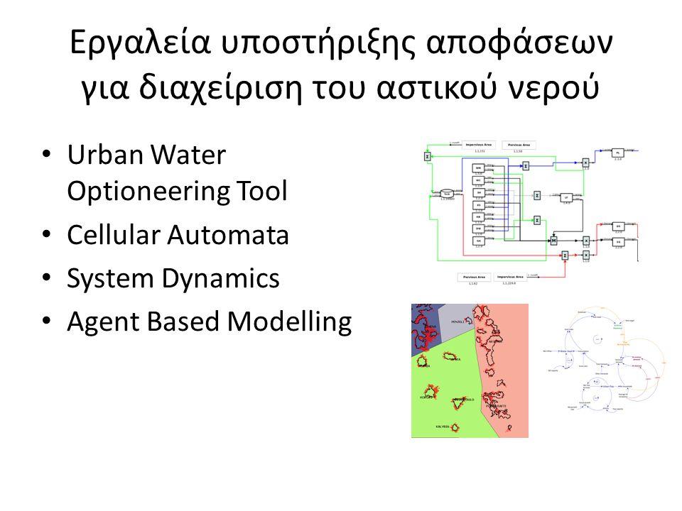 Εργαλεία υποστήριξης αποφάσεων για διαχείριση του αστικού νερού • Urban Water Optioneering Tool • Cellular Automata • System Dynamics • Agent Based Mo