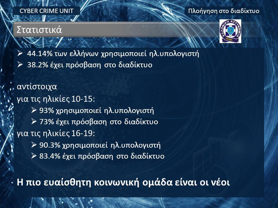  44.14% των ελλήνων χρησιμοποιεί ηλ.υπολογιστή  38.2% έχει πρόσβαση στο διαδίκτυο αντίστοιχα για τις ηλικίες 10-15:  93% χρησιμοποιεί ηλ.υπολογιστή