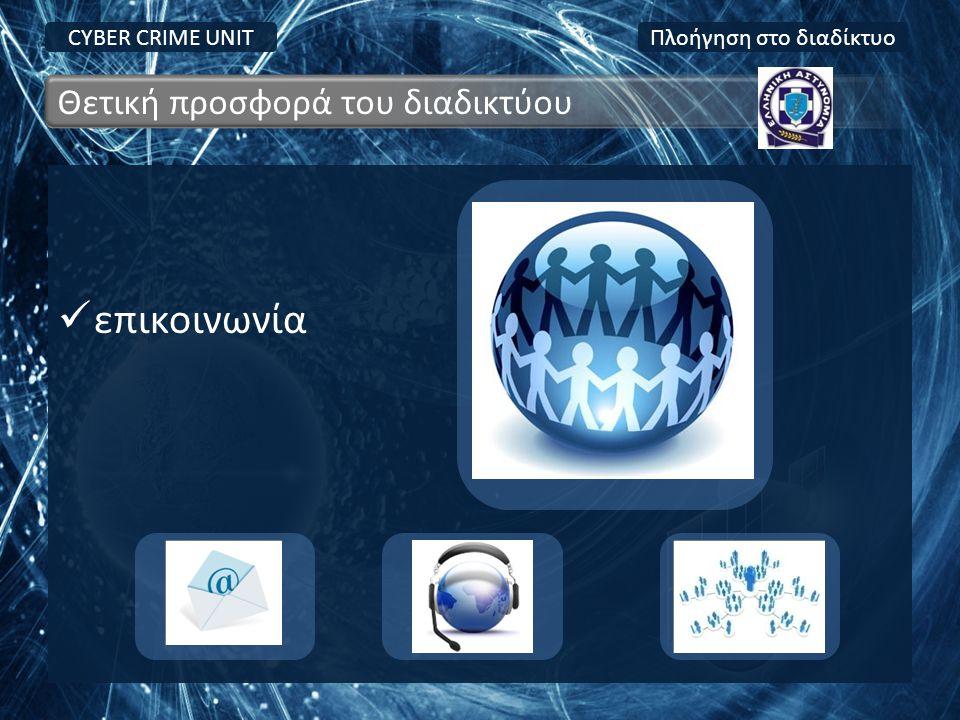  επικοινωνία CYBER CRIME UNIT Θετική προσφορά του διαδικτύου Πλοήγηση στο διαδίκτυο