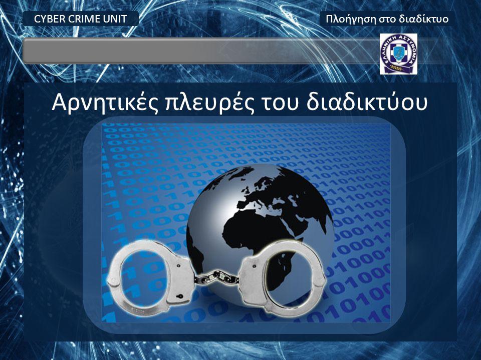 Αρνητικές πλευρές του διαδικτύου CYBER CRIME UNITΠλοήγηση στο διαδίκτυο