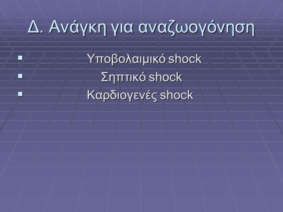 Δ. Ανάγκη για αναζωογόνηση  Υποβολαιμικό shock  Σηπτικό shock  Καρδιογενές shock