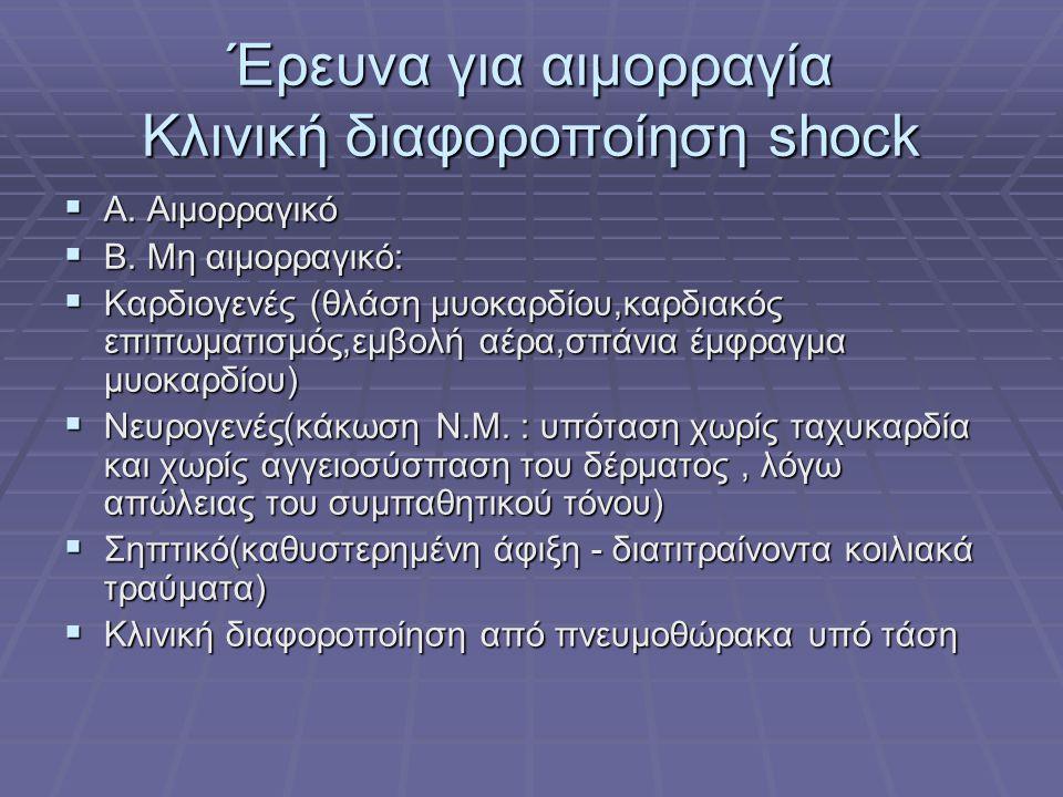 Έρευνα για αιμορραγία Κλινική διαφοροποίηση shock  Α. Αιμορραγικό  Β. Μη αιμορραγικό:  Καρδιογενές (θλάση μυοκαρδίου,καρδιακός επιπωματισμός,εμβολή