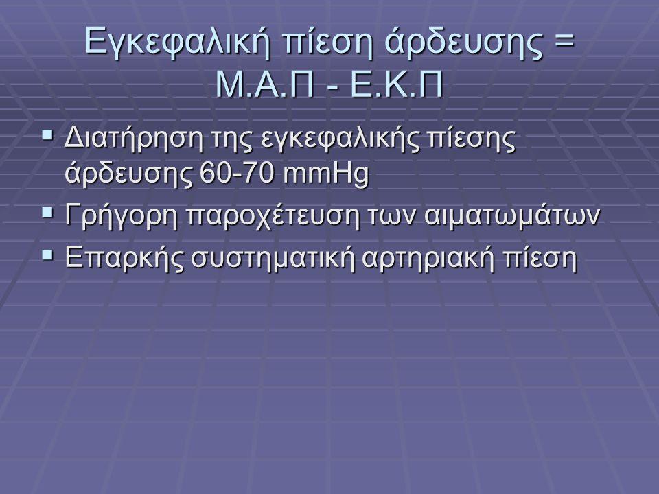 Εγκεφαλική πίεση άρδευσης = Μ.Α.Π - Ε.Κ.Π  Διατήρηση της εγκεφαλικής πίεσης άρδευσης 60-70 mmHg  Γρήγορη παροχέτευση των αιματωμάτων  Επαρκής συστη