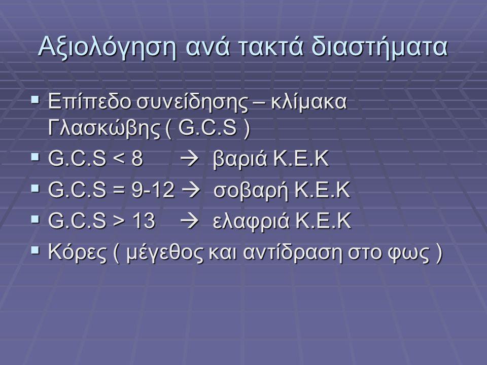 Αξιολόγηση ανά τακτά διαστήματα  Επίπεδο συνείδησης – κλίμακα Γλασκώβης ( G.C.S )  G.C.S < 8  βαριά Κ.Ε.Κ  G.C.S = 9-12  σοβαρή Κ.Ε.Κ  G.C.S > 1