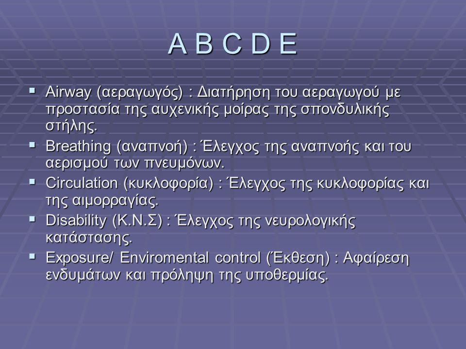 A B C D E  Airway (αεραγωγός) : Διατήρηση του αεραγωγού με προστασία της αυχενικής μοίρας της σπονδυλικής στήλης.  Breathing (αναπνοή) : Έλεγχος της