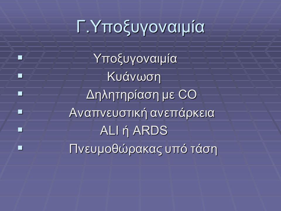 Γ.Υποξυγοναιμία  Υποξυγοναιμία  Κυάνωση  Δηλητηρίαση με CO  Αναπνευστική ανεπάρκεια  ALI ή ARDS  Πνευμοθώρακας υπό τάση