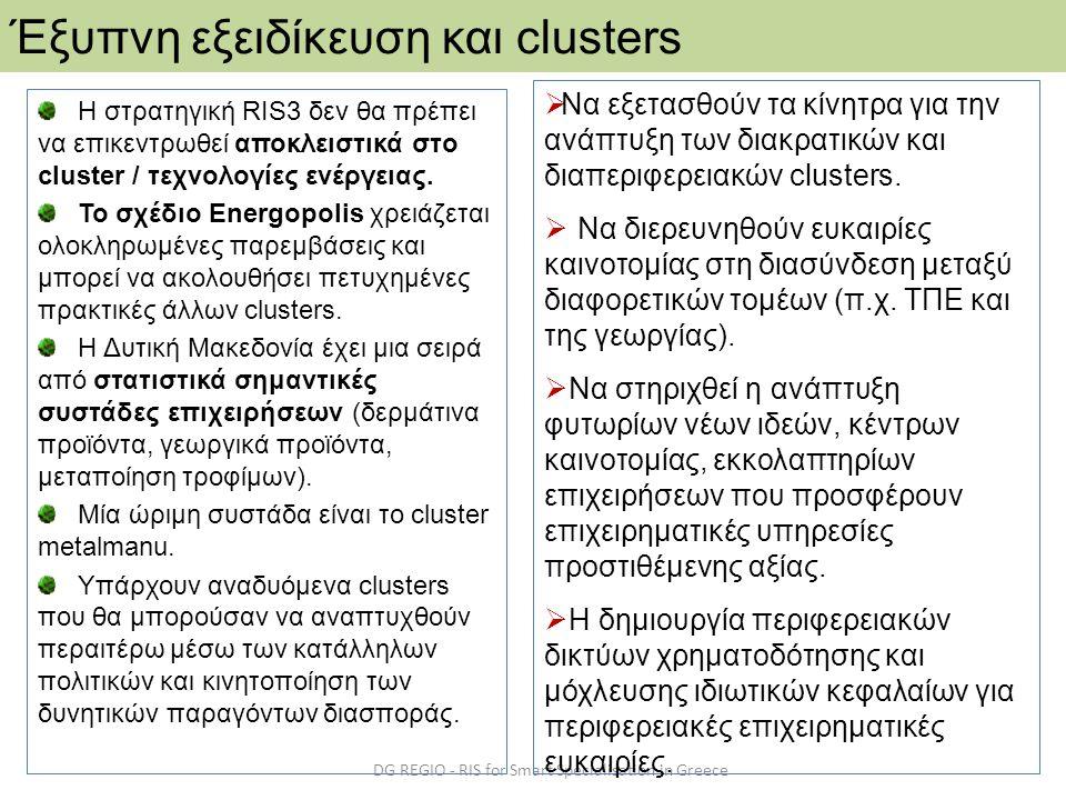 DG REGIO - RIS for Smart Specialisation in Greece Έξυπνη εξειδίκευση και clusters H στρατηγική RIS3 δεν θα πρέπει να επικεντρωθεί αποκλειστικά στo clu