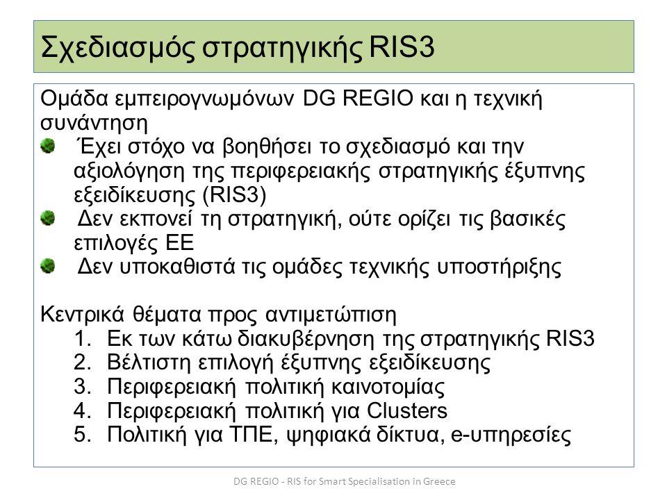Σχεδιασμός στρατηγικής RIS3 Ομάδα εμπειρογνωμόνων DG REGIO και η τεχνική συνάντηση Έχει στόχο να βοηθήσει το σχεδιασμό και την αξιολόγηση της περιφερε