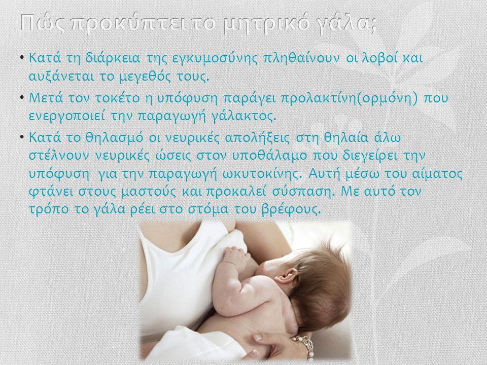 •Ο•Οικονομικό, πρακτικό και εύκολο •Δ•Διαθέσιμο ανά πάσα στιγμή •Σ•Σωστή θερμοκρασία •Π•Περιέχει όλα τα συστατικά που χρειάζεται το μωρό στη σωστή αναλογία •Ε•Είναι εύπεπτο •Π•Περιέχει αντισώματα •Α•Αναπτύσεται στενότερος δεσμός ανάμεσα σε μάνα και παιδί •Ε•Εκκρίνει ορμόνες οι οποίες προκαλούν συσπάσεις στη μήτρα και συμβάλουν στην απόκτηση του αρχικού της μεγέθους