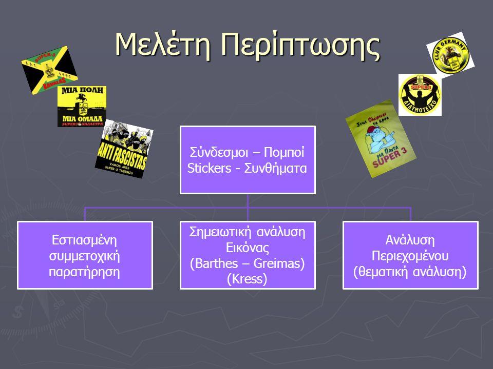 Μελέτη Περίπτωσης Σύνδεσμοι – Πομποί Stickers - Συνθήματα Εστιασμένη συμμετοχική παρατήρηση Σημειωτική ανάλυση Εικόνας (Barthes – Greimas) (Kress) Ανά
