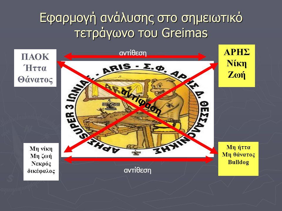 Εφαρμογή ανάλυσης στο σημειωτικό τετράγωνο του Greimas ΠΑΟΚ Ήττα Θάνατος ΑΡΗΣ Νίκη Ζωή Μη ήττα Μη θάνατος Bulldog Μη νίκη Μη ζωή Νεκρός δικέφαλος αντί