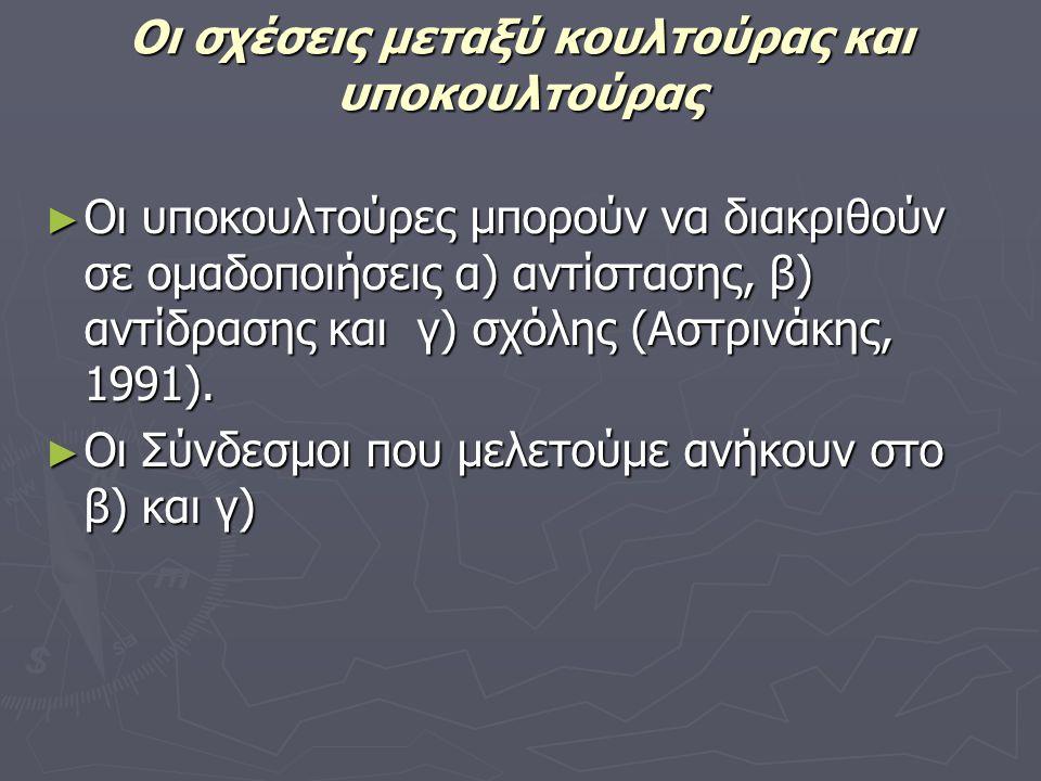 ► Οι υποκουλτούρες μπορούν να διακριθούν σε ομαδοποιήσεις α) αντίστασης, β) αντίδρασης και γ) σχόλης (Αστρινάκης, 1991). ► Οι Σύνδεσμοι που μελετούμε