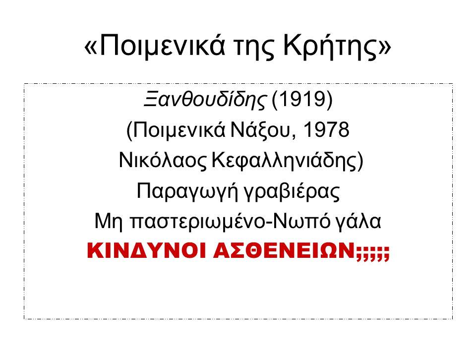 «Ποιμενικά της Κρήτης» Ξανθουδίδης (1919) (Ποιμενικά Νάξου, 1978 Νικόλαος Κεφαλληνιάδης) Παραγωγή γραβιέρας Μη παστεριωμένο-Νωπό γάλα ΚΙΝΔΥΝΟΙ ΑΣΘΕΝΕΙ