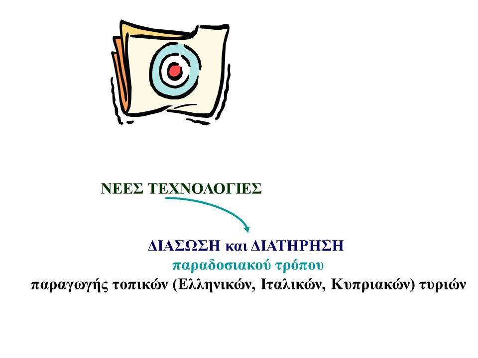 ΔΙΑΣΩΣΗ και ΔΙΑΤΗΡΗΣΗ παραδοσιακού τρόπου παραγωγής τοπικών (Ελληνικών, Ιταλικών, Κυπριακών) τυριών ΝΕΕΣ ΤΕΧΝΟΛΟΓΙΕΣ