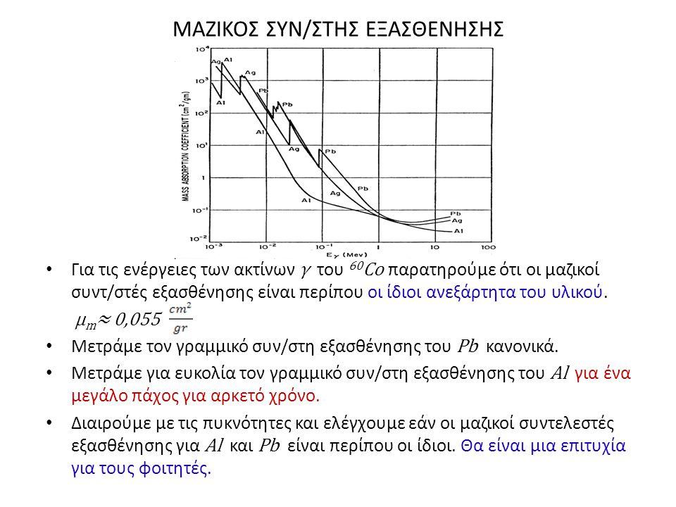 ΜΑΖΙΚΟΣ ΣΥΝ/ΣΤΗΣ ΕΞΑΣΘΕΝΗΣΗΣ • Για τις ενέργειες των ακτίνων γ του 60 Cο παρατηρούμε ότι οι μαζικοί συντ/στές εξασθένησης είναι περίπου οι ίδιοι ανεξά